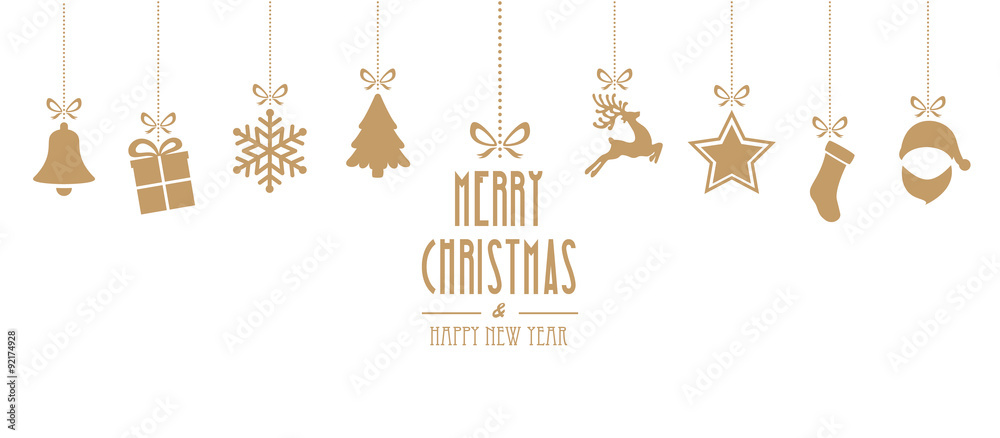 Fototapety, obrazy: christmas elements hanging gold isolated background