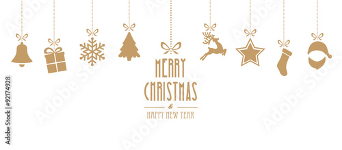 Fototapeta christmas elements hanging gold isolated background obraz