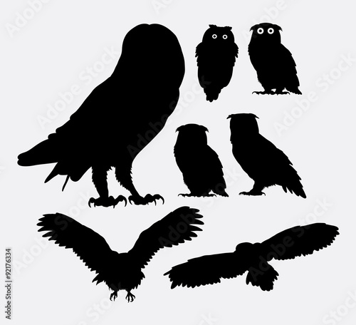 Canvas Prints Owls cartoon Owl bird silhouettes. Good use for symbol, web icon, logo, mascot, or any design you want.