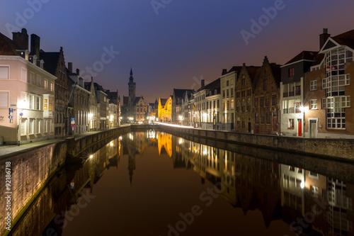 Wall Murals Bridges Bruges, Belgium at night