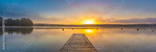 Poster Lac / Etang Panorama/Sonnenaufgang am Schwarzer See, Mecklenburgische Seenplatte