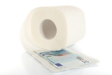 Toilet Paper And Euro Banknote On Light Background