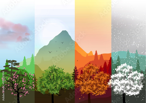 Foto Four Seasons Banners with Abstract Forest and Mountains - Vector Illustration