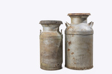 Old Rusty Milk Cans Isolated On White