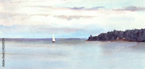 Deurstickers Lichtblauw Watercolor landscape - island, sky with clouds and white sail.