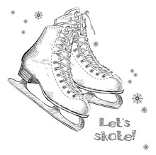 Winter Holidays Card With Ice Skates Cartoon Sketch. Hand Draw Vector Illustration