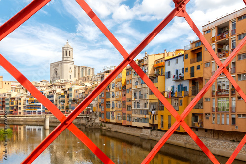 Poster Stadion Girona. Multi-colored facades of houses on the river Onyar.