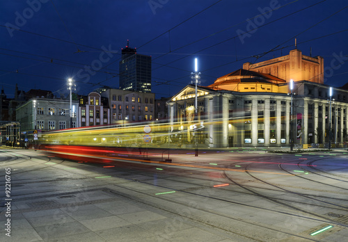 Wyspianski Theatre, and the tram in the evening. Katowice