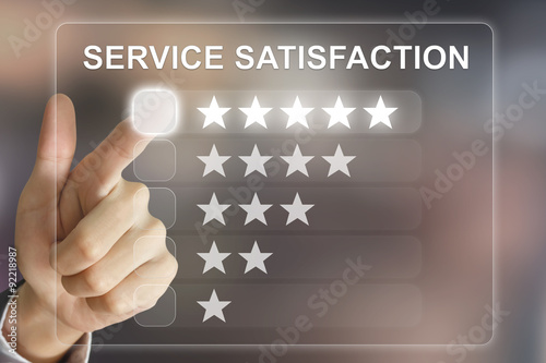 business hand pushing service satisfaction on virtual screen Billede på lærred