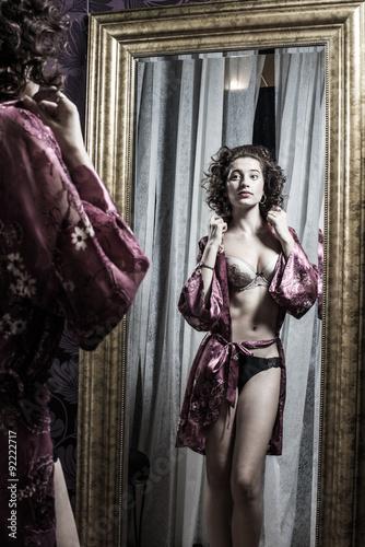 Fotografie, Obraz  Stunning Female Wearing Floral Silk Robe