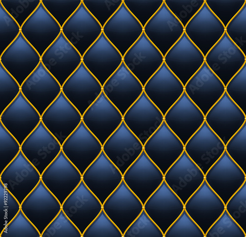 Fototapety, obrazy: Dark Deep Blue with Gold Quilted Leather Seamless Background