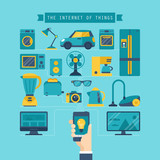 Internet of things concept with flat stylish icons of home appli