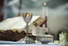 Chalice And Ritual Objects Used For Catholic Mass