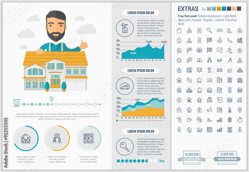 Fotografía  Real Estate flat design Infographic Template