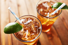 Iced Sweet Tea With Lime Wedge...