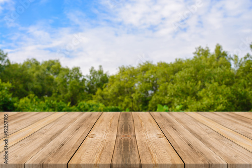 Papiers peints Jardin Wooden board empty table in front of blurred background. Perspective brown wood over blur trees in forest - can be used for display or montage your products. spring season. vintage filtered image.