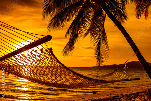 Photo  Silhouette of hammock and palm trees on a beach at sunset