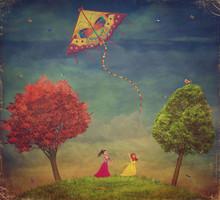 Young Girls  Among   Trees On ...