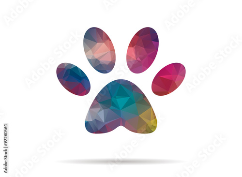 low poly icon colorful dog footprint Poster