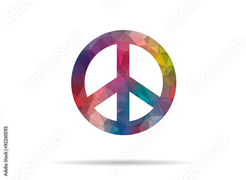 Foto  low poly icon colorful peace symbol