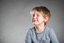 Portrait, Junge, Grauer Hintergrund, Emotion, Weinen