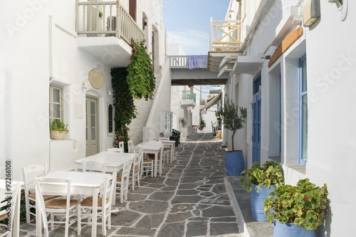 Beautiful and graphic stoned alley in Paros island at Greece.