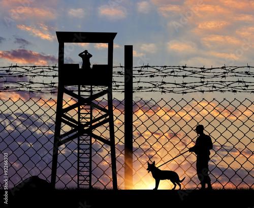 Fotografia, Obraz Security guard with dog on the border
