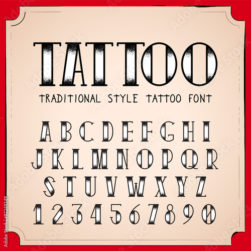 Old School Tattoo Style Font Vector Traditional Ink Alphabet