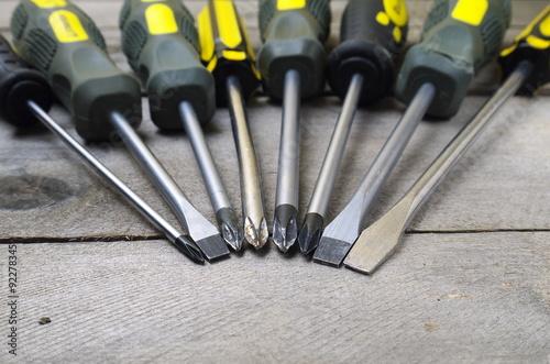 Obraz na plátne screwdrivers set closeup, shallow depth of field