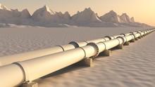 Pipelines In Schneelandschaft