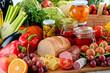 Leinwanddruck Bild - Composition with variety of organic food