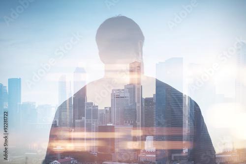 Fototapeta Double exposure of man and city on the background obraz na płótnie