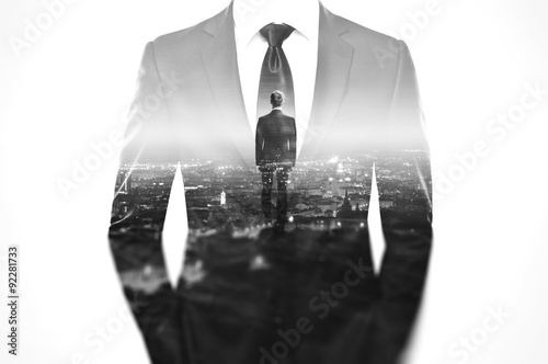 Fotografia  Double exposure concept with business man in modern suit