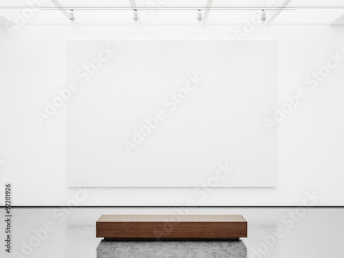 Mock up of gallery interior with white canvas. 3d render Canvas Print