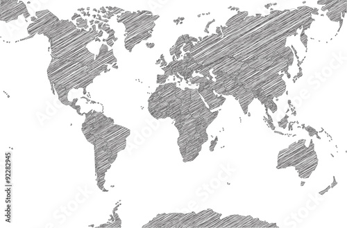 Türaufkleber Weltkarte Sketchy Map of the World
