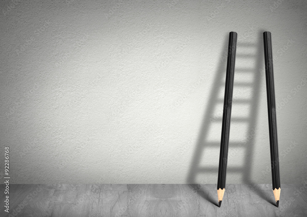 Fototapety, obrazy: success creative concept, pencil Ladder