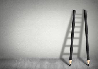 success creative concept, pencil Ladder