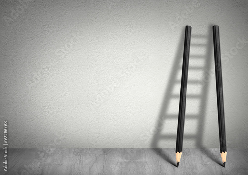 Fotografia  success creative concept, pencil Ladder