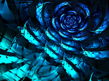 Abstract Computer-generated Image Checkered Blue Rose