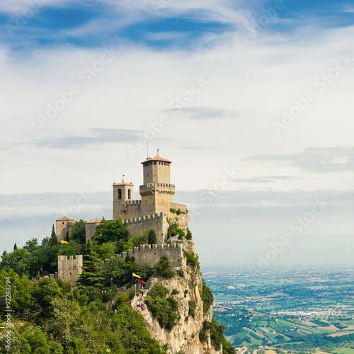 Guaita fortress on Monte Titano with San Marino city in backgro Wall mural