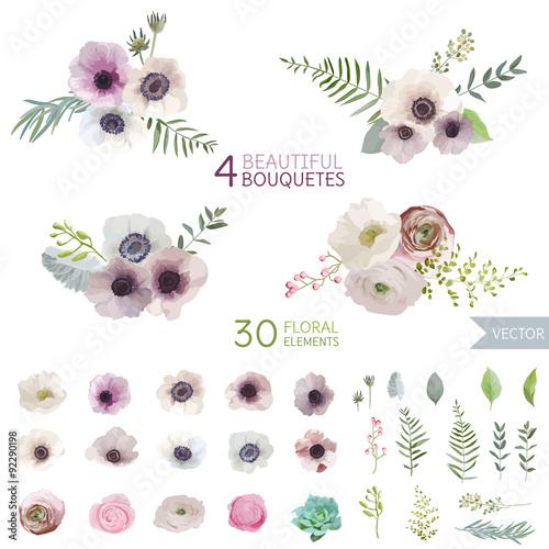 Flowers and Leaves - in Watercolor Style - vector Fototapeta