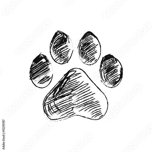 Foto hand drawn doodle of animal footpri, Vector illustration.