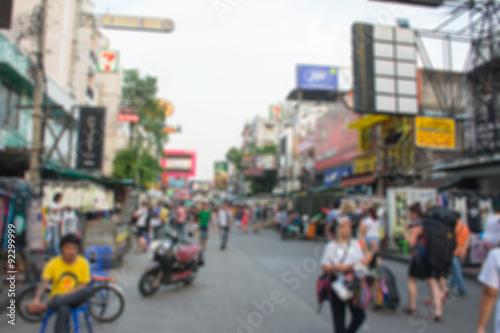 Deurstickers New York City Abstract blur tourist shopping in khaosan road Bangkok Thailand