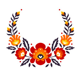 Obraz na Szkle Folklor Polish folk flowers papercut