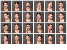 One Woman With Different Emotions