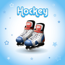 Ice Hockey Skates On A Blue Background