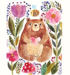 Panel Szklany Do pokoju dziecka Bear and flowers