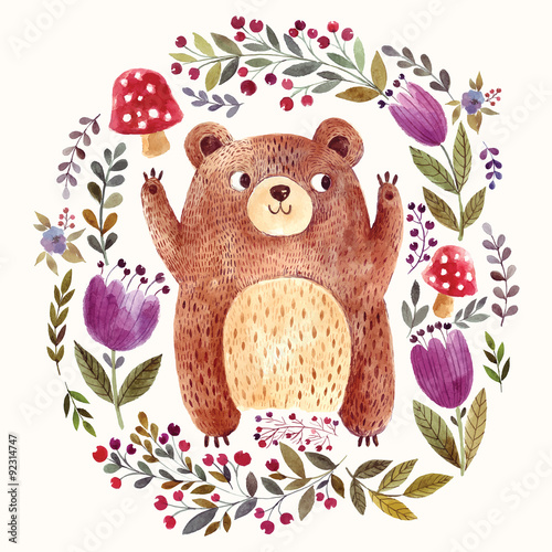 Photo  Adorable bear in watercolor technique.