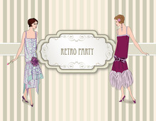Retro Clip Art Girl In 1930s F...