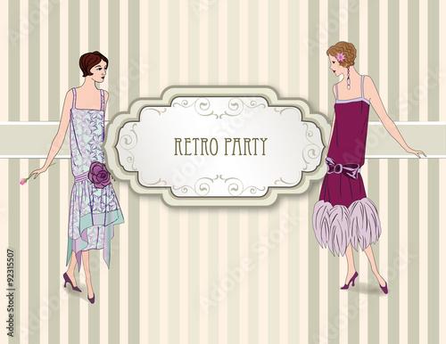 Poster  Retro Clip Art Girl in 1930s Fashion Style